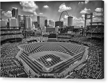 Busch Stadium St. Louis Cardinals Black White Ballpark Village Canvas Print by David Haskett