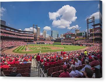 Busch Stadium St. Louis Cardinals Cardinal Nation Ballpark Village Day #2a Canvas Print by David Haskett