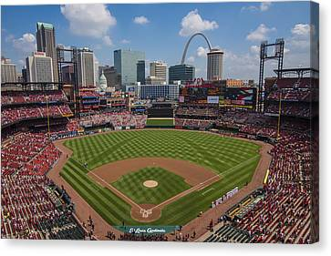 Busch Stadium T. Louis Cardinals Ball Park Village National Anthem #3a Canvas Print by David Haskett