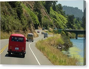 Buses Heading For A Bridge Canvas Print