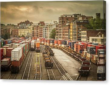 Canvas Print featuring the photograph Busines End Of The City... by Russell Styles