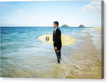 Business Man At The Beach With Surfboard Canvas Print by Brandon Tabiolo - Printscapes