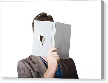 Business Man Peeking Through Spyhole In Book Canvas Print by Jorgo Photography - Wall Art Gallery