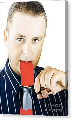 Business Person Cutting The Red Tape Canvas Print by Jorgo Photography - Wall Art Gallery