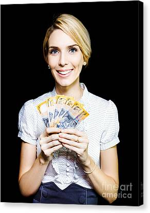 Good Fortune Canvas Print - Business Woman Holding A Cash Bonanza by Jorgo Photography - Wall Art Gallery