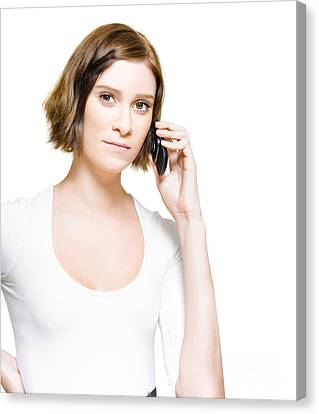 Business Woman On Mobile Phone Studio Portrait Canvas Print