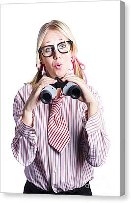 Outlook Canvas Print - Business Woman With Binoculars by Jorgo Photography - Wall Art Gallery