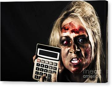 Business Woman With Calculator. Halloween Sale Canvas Print by Jorgo Photography - Wall Art Gallery
