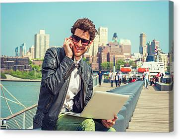Businessman Enjoying Working Outside Canvas Print