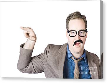 Businessman Gesturing With Finger Canvas Print