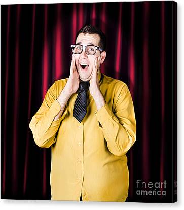Limelight Canvas Print - Businessman In Performance Review Spotlight by Jorgo Photography - Wall Art Gallery