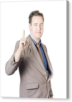 Businessman Pointing Finger Up Canvas Print by Jorgo Photography - Wall Art Gallery