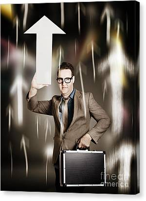 Businessman Pointing Up With White Arrow Symbol Canvas Print by Jorgo Photography - Wall Art Gallery