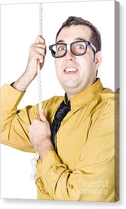 Businessman Pulling On Rope Canvas Print