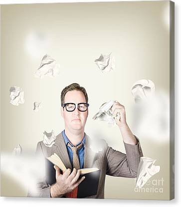 Businessman Revising Strategy In Choice For Change Canvas Print by Jorgo Photography - Wall Art Gallery