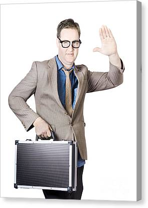 Businessman Showing Hand Holding Briefcase Canvas Print by Jorgo Photography - Wall Art Gallery