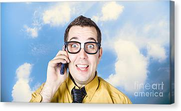 Businessman Talking The Talk. Cloud Background Canvas Print by Jorgo Photography - Wall Art Gallery