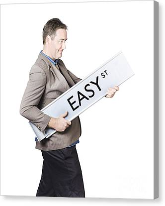 Businessman Travelling To Easy Street Canvas Print