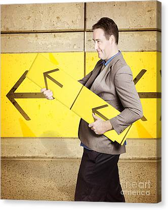 Businessman With Arrow Sign Signalling Growth Canvas Print by Jorgo Photography - Wall Art Gallery