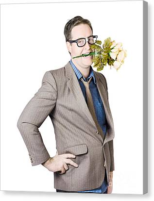Businessman With Flowers In Mouth Canvas Print by Jorgo Photography - Wall Art Gallery