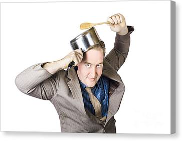 Businessman With Saucepan And Spatula Canvas Print by Jorgo Photography - Wall Art Gallery