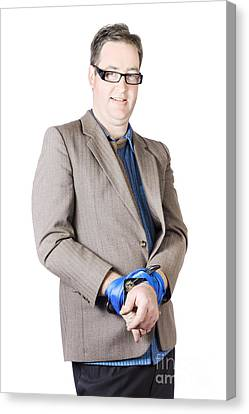 Businessman With Tied Hands Canvas Print by Jorgo Photography - Wall Art Gallery