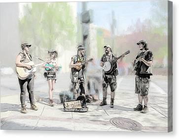 Busker Quintet Canvas Print by John Haldane