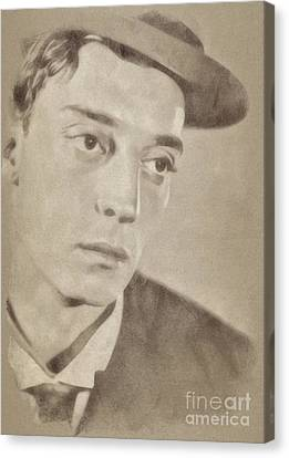 Buster Keaton, Hollywood Legend By John Springfield Canvas Print by John Springfield