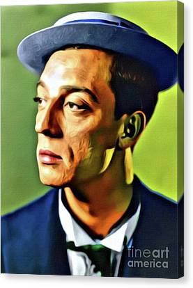 Buster Keaton, Hollywood Legend. Digital Art By Mb Canvas Print by Mary Bassett