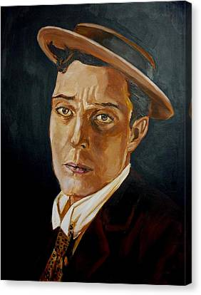 Canvas Print featuring the painting Buster Keaton Tribute by Bryan Bustard