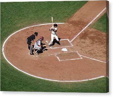 Buster Posey At The Plate Canvas Print by David Lovins