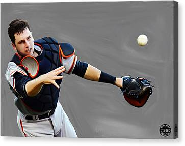 San Francisco Giants Canvas Print - Buster Posey by Jeff DOttavio