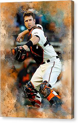 Buster Posey Canvas Print by Karl Knox