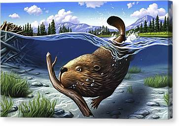 Rodent Canvas Print - Busy Beaver by Jerry LoFaro