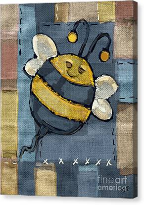 Canvas Print featuring the mixed media Busy Bee by Carrie Joy Byrnes