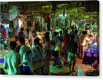 Canvas Print featuring the photograph Busy Chennai India Flower Market by Mike Reid