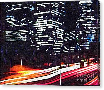 Busy City At Night Canvas Print by Deborah MacQuarrie-Selib