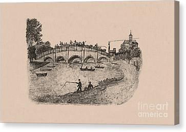 Busy Richmond Bridge And Fishermen Canvas Print by Donna Munro