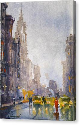 Misty Canvas Print - Busy Streets Of New York by Kristina Vardazaryan