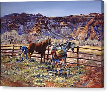 Butch And Clayton  Swapping Shoes And Tales Canvas Print