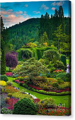 Butchart Gardens Sunset Canvas Print by Inge Johnsson