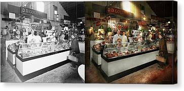 Butcher - Dd Collins Butcher 1915 Side By Side Canvas Print by Mike Savad