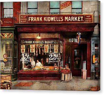 Canvas Print featuring the photograph Butcher - Meat Priced Right 1916 by Mike Savad