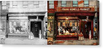 Canvas Print featuring the photograph Butcher - Meat Priced Right 1916 - Side By Side by Mike Savad