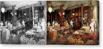 Butcher - The Game Center 1895 - Side By Side Canvas Print by Mike Savad