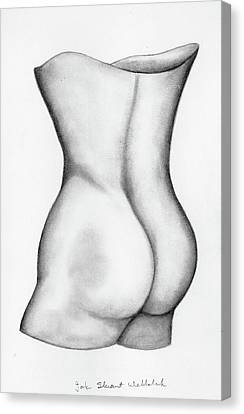 Canvas Print featuring the drawing Butt Of A Study by John Stuart Webbstock