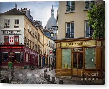 Streetlight Canvas Print - Butte De Montmartre by Inge Johnsson