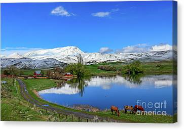 Canvas Print featuring the photograph Butte Farm After Spring Snow by Robert Bales