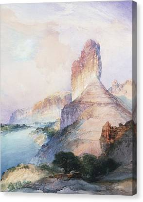 Butte Green River Wyoming Canvas Print by Thomas Moran