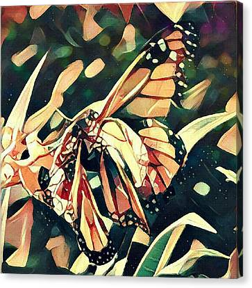 Canvas Print featuring the digital art Butterfies In Love Abstract by David Mckinney